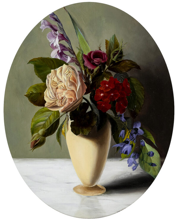 VERNON D. Late 19th Century. - A vase of flowers.