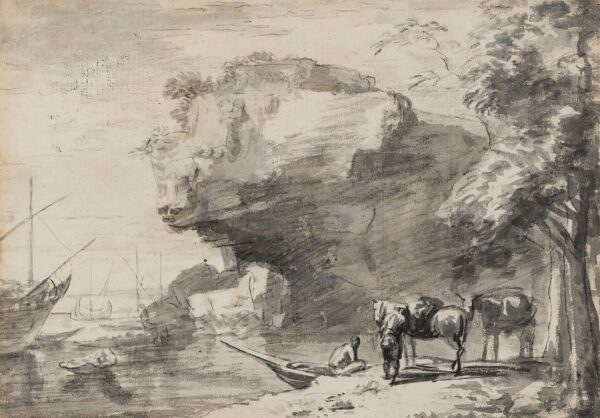 VERSCHURING Hendrik (1627-1690) Circle of - A rocky Cove.