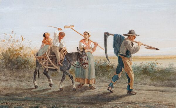 VEYRASSAT Jules Jacques (1828-1893) - Return from the fields.