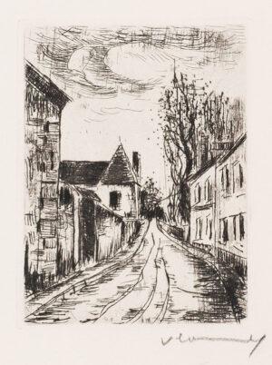 VLAMINCK Maurice de (1876-1958) - Village Street, frontispiece for Georges Duhamel's Les Hommes Abandonnes .