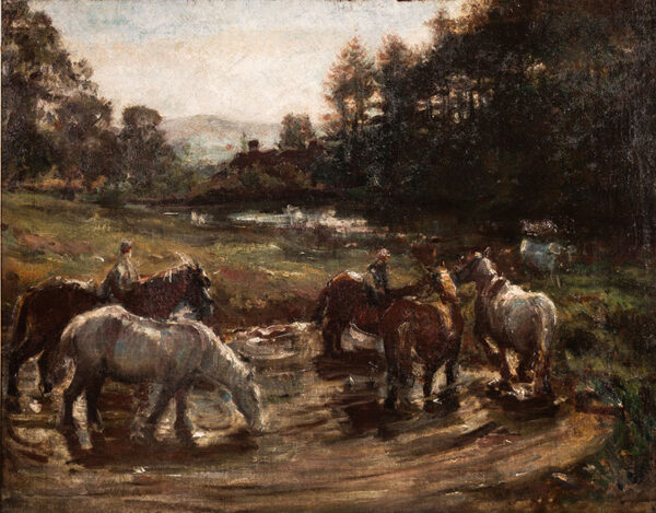 WALKER Dame Ethel N.E.A.C. (1861-1951) - Farm horses watering at dusk.