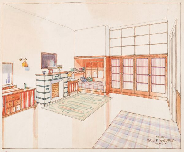 WALLESZ Rudolf (b.1894 Vienna / Naturalised 25th November 1946 / Became Rudolf Walles 20.10.1947) - Presentation Design for an Austrian bed-sitting-room.