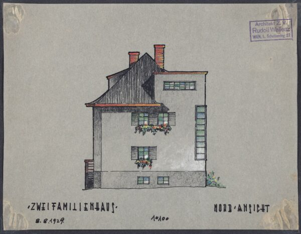 WALLESZ Rudolf (b.1894 Vienna / Naturalised 25th November 1946 / Became Rudolf Walles 20.10.1947) - 'Zwei Familienhaus': Set of four Presentation Elevations .