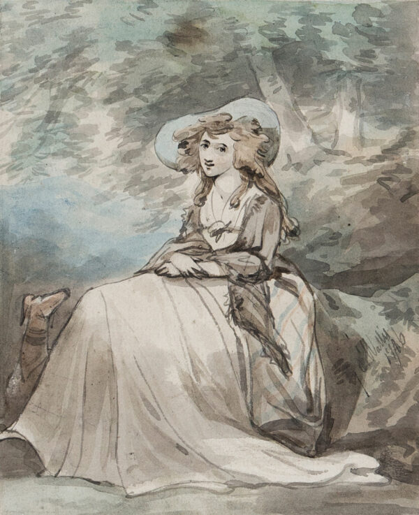 WALLIS George Augustus (1761-1847) - Lady seated in a Park.