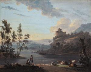 WALMSLEY Thomas (1763-1805) (attributed to) - Capriccio: Castle and lake.
