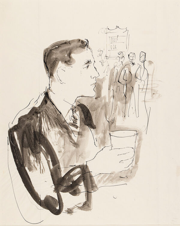WARD John Stanton C.B.E. (1917-2007) - Whisky drinking V Pen and ink study for a Grant's Whisky advertisement, circa 1955.