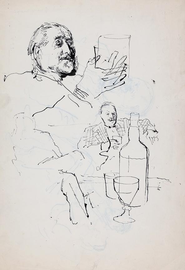 WARD John Stanton C.B.E. (1917-2007) - Compton Mackenzie tasting Grant's Whisky.