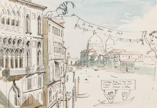 WARD John Stanton C.B.E. (1917-2007) - 'To dear Hans and Pat…' the Grand Canal and Salute.