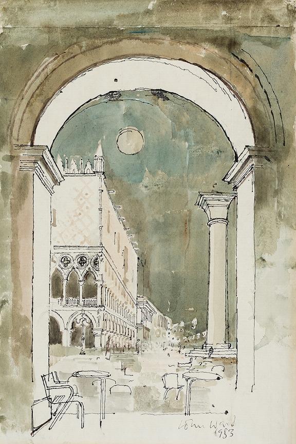 WARD John (1917-2007) - Venice: the Doge's Palace from the Café Lavena: moonlight.