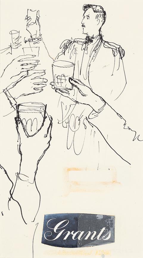 WARD John Stanton C.B.E. (1917-2007) - Study for 'Grants' whiskey advertisement.