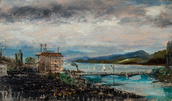 WARREN William White (1832-c.1912) - Crowd by an (?Italian) lake.