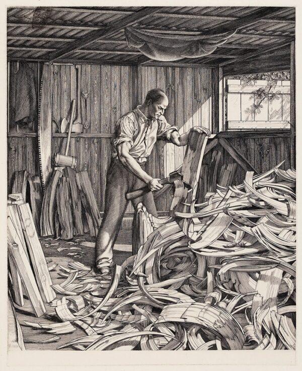 WASHINGTON William (1885-1956) - 'Cleft Chopping'.
