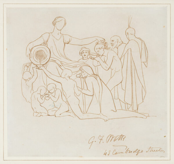 WATTS George Frederick O.M. R.A. (1817-1904) - Pen and ink study for 'Charity', an oil painting Watts never executed.