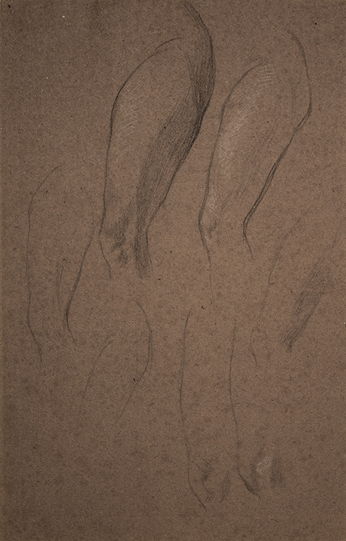 WATTS George Frederick O.M. R.A. (1817-1904) - Leg studies, possibly that of the housemaid 'Long Mary'.