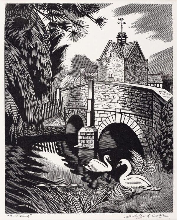 WEBB Clifford R.B.A. R.E. (1894-1972) - 'Eardisland', Herefordshire Wood engraving.