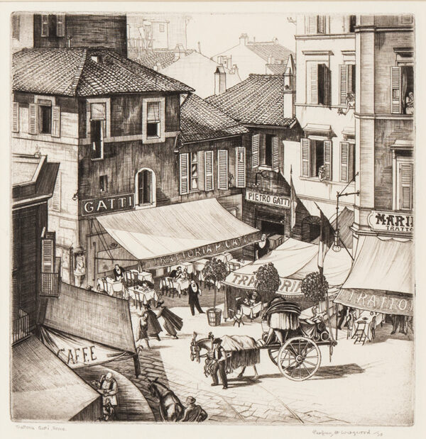 WEDGWOOD Geoffrey R.E. (1900-1977) - 'Trattoria Gatti, Rome', via San Vernanzio.