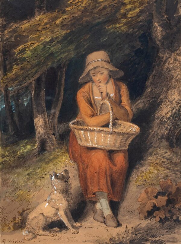WESTALL Richard R.A. (1765-1836) - A Woodlander Watercolour and gouache.