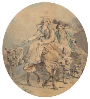 WHEATLEY Francis R.A. (1747-1801) - 'La Belle Francaise': a couple going to market.