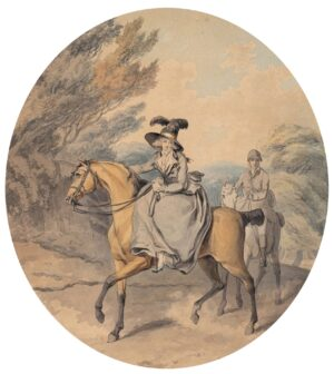WHEATLEY Francis R.A. (1747-1801) - 'La Belle Anglaise', a Lady out riding with a groom.