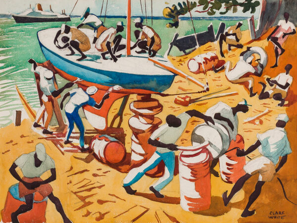 WHITE Clare (1903-1997) - Boat building, Barbados.