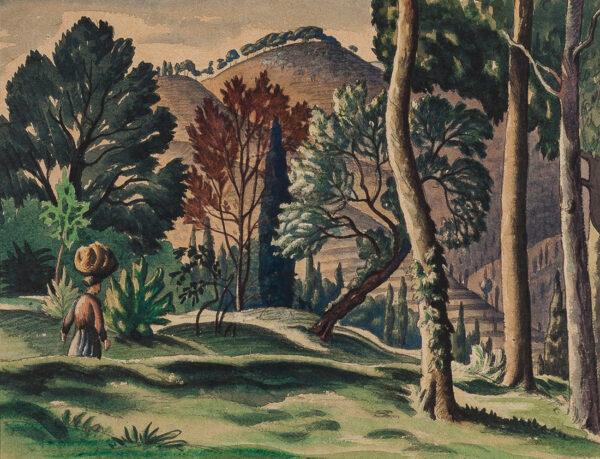 WHITE Ethelbert N.E.A.C. R.W.S. L.G. S.W.E. (1891-1972) - The Gardener.