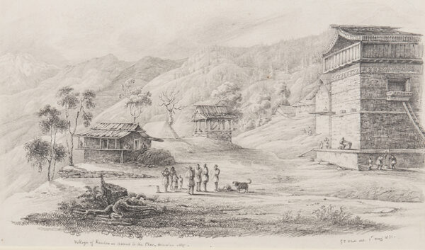 WHITE Colonel George Francis (1808-1898) - 'Village of Kandoo on the ascent to the Chor-Himalan Mountains'.