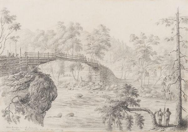 WHITE Colonel George Francis (1808-1898) - 'Cedar Bridge over the Jumna / Burkole / Himalayan Mountains'.
