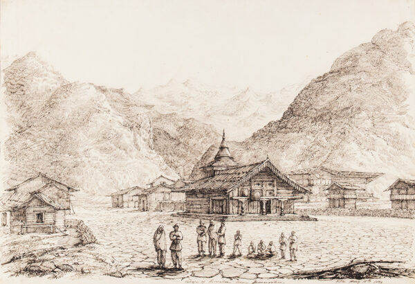 WHITE Colonel George Francis (1808-1898) - 'Village of (?) Kirsallee near (? Indescipherable)' Himalayas.