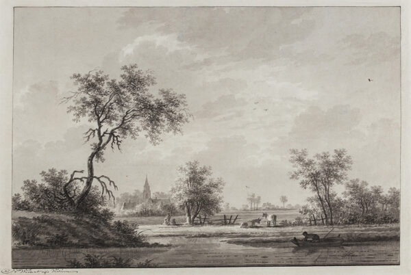 WICART Nicolaas (1748-1815) - The river Nederrijn at 'Amerongen'.