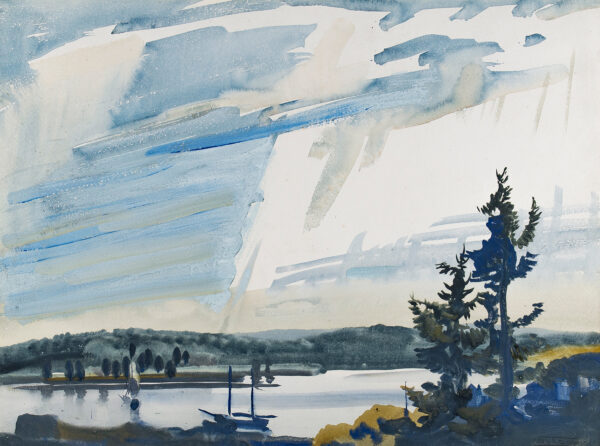 WILCOX Frank Nelson (U.S.A. 1887-1964) - Maine: 'Boothbay Harbor (sic) after rain'.