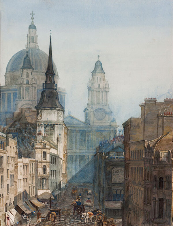 WILFRID George (Mid-Nineteenth Century) - 'Ludgate Hill and St Pauls'.