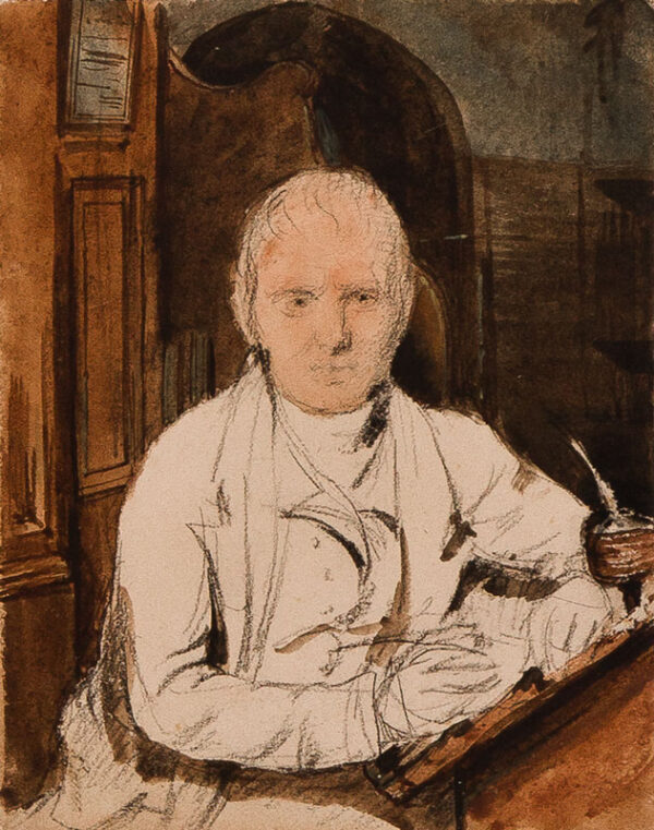 WILKIE Sir David R.A. (1785-1841) - Traditionally believed to be Sir Walter Scott (1771-1832) Pencil, chalk and watercolour.