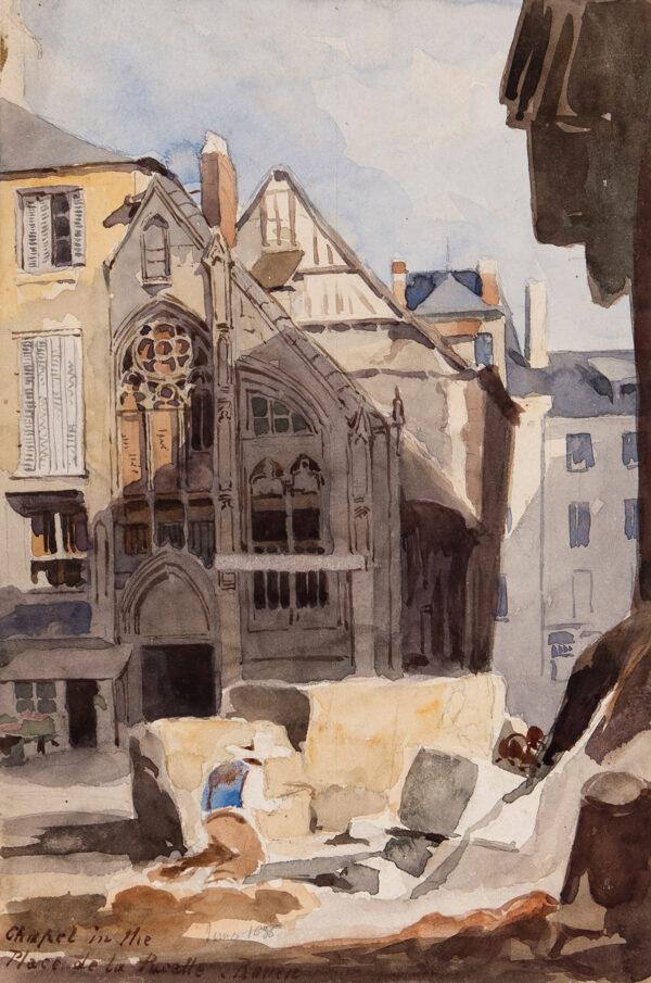 WOLEDGE Frederick William (fl.1830-1895) - 'Chapel in the Place de la Pucelle, Rouen'.