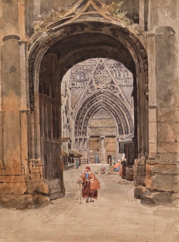 WOLEDGE Frederick William (fl.1830-1895) - Rouen: Gateway to the Cathedral.