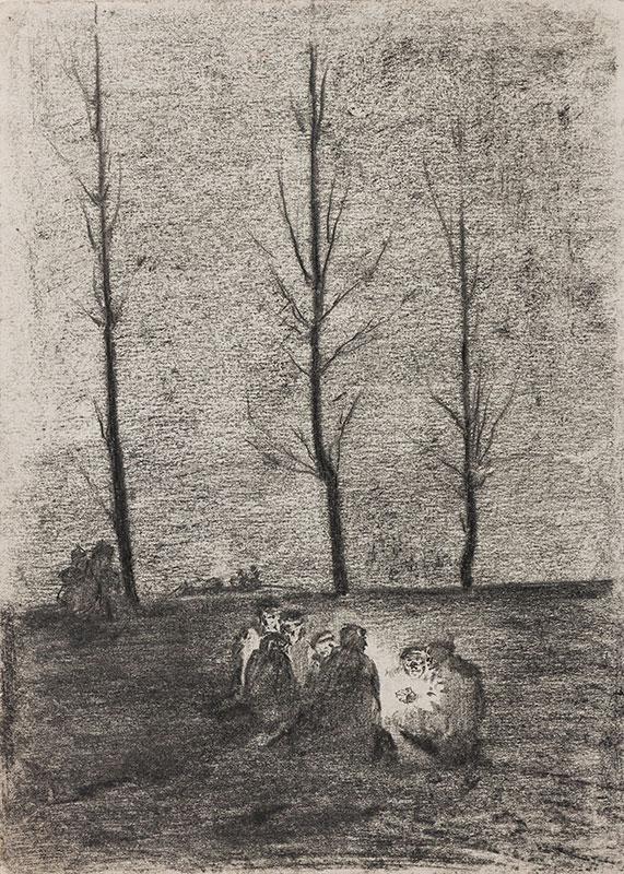 WOLFSFELD Erich (1884-1956) - Travellers around a camp fire.