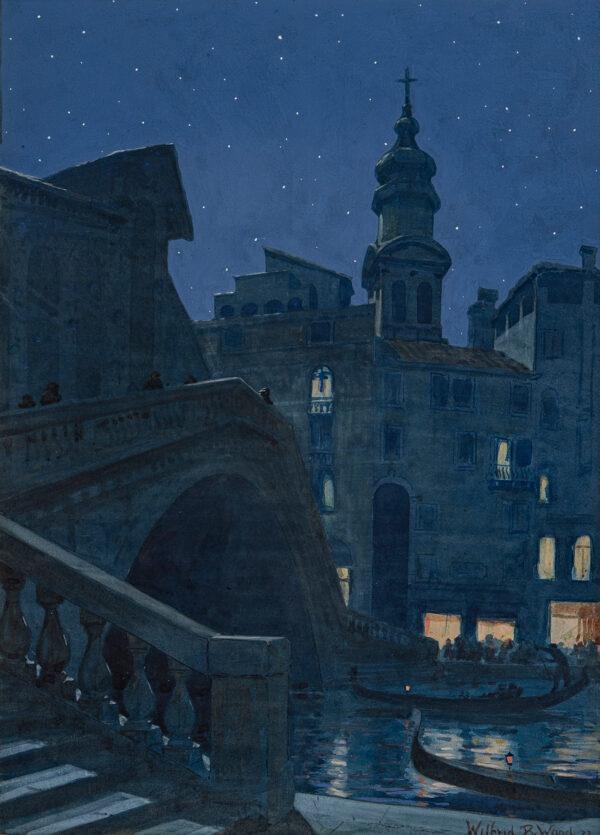 WOOD Wilfrid Rene (1888-1976) - Venice: the Rialto – a summer night.