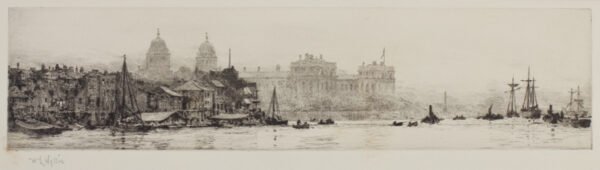 WYLLIE William Lionel R.A. R.E. N.E.A.C. (1851-1931) - 'Greenwich from the river'.
