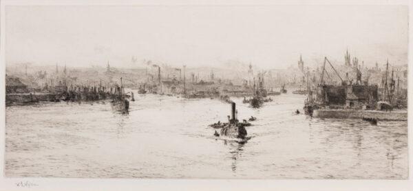 WYLLIE William Lionel R.A. R.E. N.E.A.C. (1851-1931) - 'Aberdeen, Where the Don meets the Dee'.