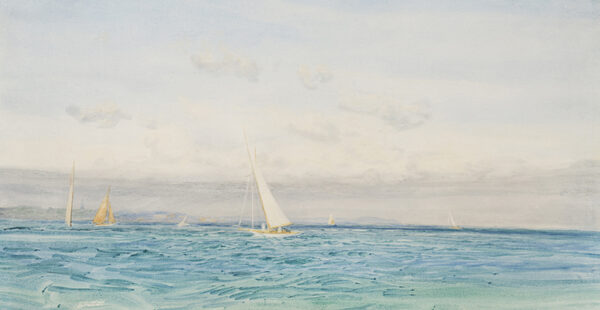 WYLLIE William Lionel R.A. R.E. N.E.A.C. (1851-1931) - Racing off shore, traditionally believed to be the Solent.