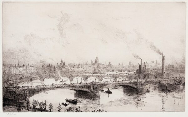 WYLLIE William Lionel R.A. R.E. N.E.A.C. (1851-1931) - 'London Bridge with St Paul's in the distance'.