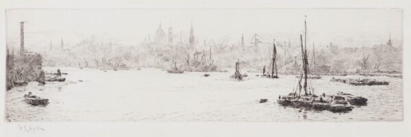 WYLLIE William Lionel R.A. R.E. N.E.A.C. (1851-1931) - 'St Pauls from the Thames'.