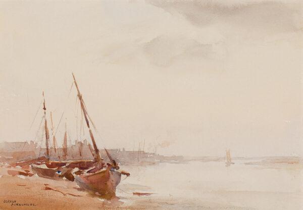 ACKERMANN Arthur Gerald R.I. (1876-1960) - Essex: 'Low tide, Maldon'.