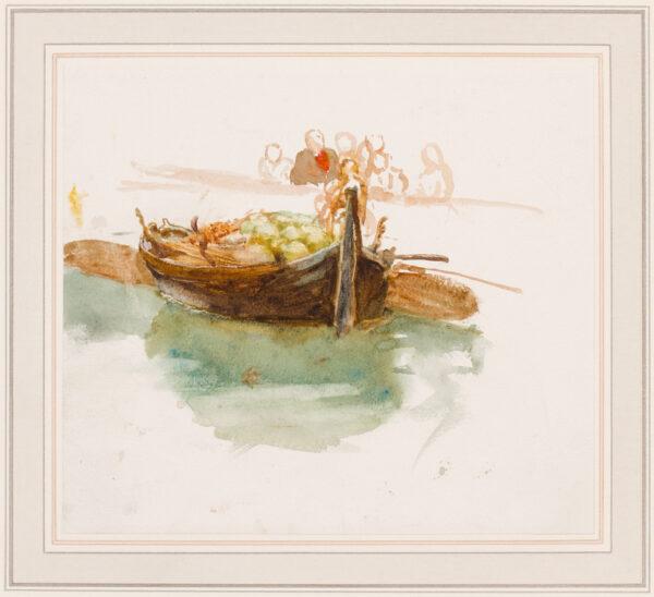 ALLINGHAM Helen R.W.S. (1848-1926) - Study of a Venetian fruit barge.