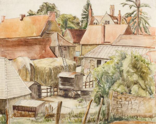 ALLINSON Adrian R.O.I. L.G. (1890-1959) - A Cotswold farmyard.
