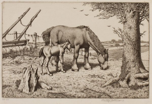 ANDERSON Stanley C.B.E. R.A. R.E. (1884-1966) - 'Daisy and her foal'.