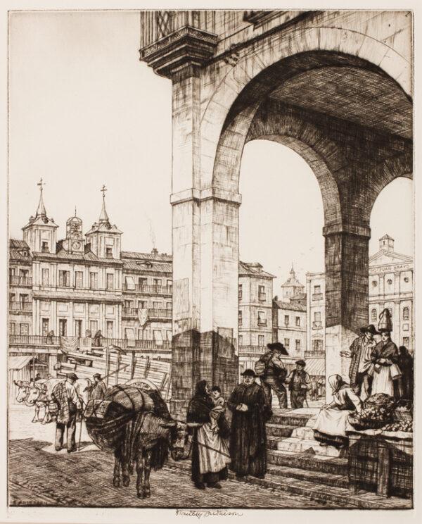 ANDERSON Stanley C.B.E. R.A. R.E. (1884-1966) - 'La Plaza Mayor, Segovia'.