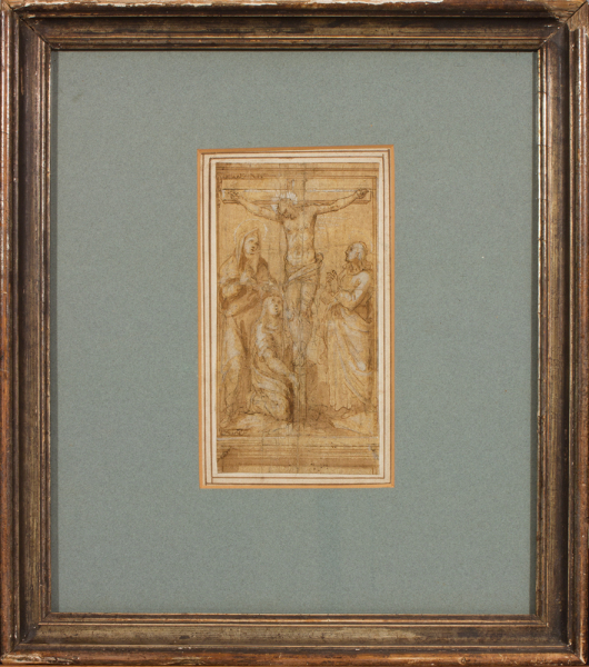 TUSCAN School. ANON. Circa 1600. - 'Crucifixion'; possibly for a panel in a sequence of decorations in the upper part of a painted chapel rather than for an altarpiece.