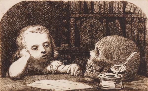 MEMENTO MORI (subject). Anon. Circa 1850. - Pen and ink.