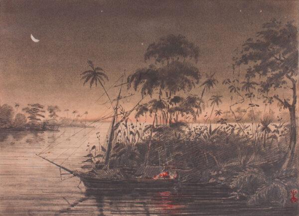 SOUTH AMERICA (subject) Anon. Circa 1850. - 'Le Soir / souvenir du rio Parana'; which flows through Paraguay, Brazil and Argentina.