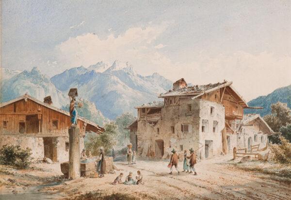 SWITZERLAND (subject) Anon. Circa 1880. - A village Calvary and water trough.